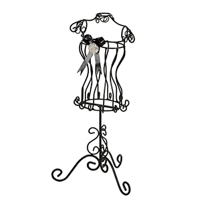 Landon Tyler Mannequin Jewellery Holder with Bow and Jewel, 38 cm, Black
