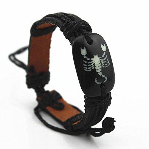 Bling moda in pelle nero posonous scorpioni in pelle Bracciale per uomo lb1240