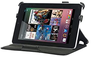 YooMee Black Google Nexus 7 Inch Android Tablet Leather Case Cover Folio with Multi-Angle Stand, Stylus Holder Strap and Hand Strap-Black