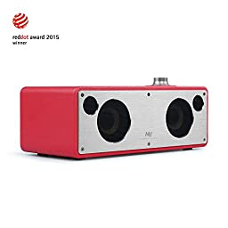 GGMM M3 Retro Wi-Fi/Bluetooth Stereo Wireless Leather Speaker | Featuring 40W Output, Multi-Room Play, Airplay, DLNA, Pandora, Spotify, iHeart radio| Streaming Music From Your Smart Devices (Red)