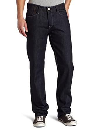EARNEST SEWN DENIM Men's Stretch Fulton Zip Twill Jeans, Washed Navy, 29