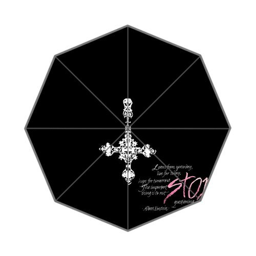 "Anhome Painting Silver Cross As White Snowflake Stop Means Sacrosanct Auto Folding Foldable Umbrella 25.6""X 21.7""X 13.8"" front-1065737"