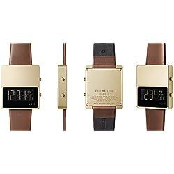 Void V01MKII oro marrón reloj digital con correa de piel/Caja de acero inoxidable cepillado