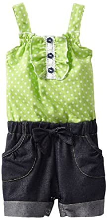 Little Lass Baby-girls Infant 1 Piece Romper With Polka Dots, Lime, 24 Months