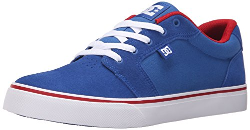 DC Men's Anvil Skate Shoe, Blue/Red/White, 9.5 M US