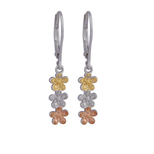 Rhodium Rose Plated Sterling Silver Diamond Accent Flower Linear Dangle Lever Back Earrings