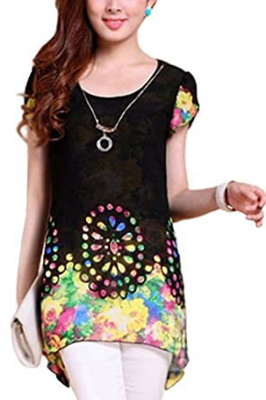 Amoin Women Floral Blouse Chiffon Shirt Loose Tops (M, Black)