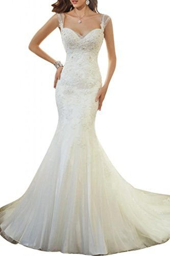 AbaoWedding Women's Sleeveless Mermaid Wedding Dress Long White (size12