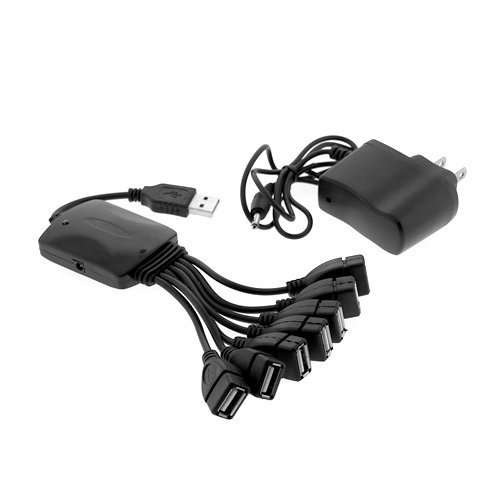 Black High Speed USB 2.0 7-Port Hub Octopus with AC Power Adapter For Desktop/Laptop Computers