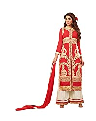 Amyra Women's Georgette Dress Material (AC794-07, Red)