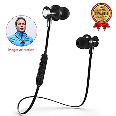 Bluetooth Headphones, V4.0 Wireless Stereo Bluetooth Earphones In-Ear Noise Cancelling Sweatproof Sport Headset Earbuds with Microphone, [Magnet Attraction]