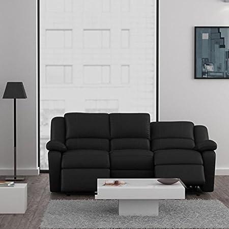 RELAX sofá de 3 plazas relajación de piel sintética, color negro
