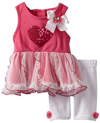 Little Lass Baby-Girls Infant 2 Piece Dress Set with Heart, Fuchsia, 3-6 Months