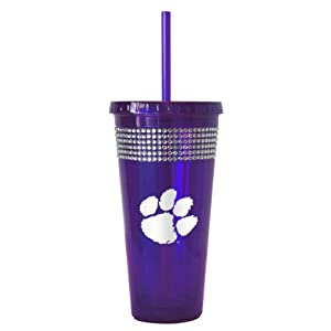 NCAA Clemson Tigers Bling Straw Tumbler, 22-Ounce