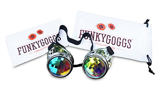 Kaleidoscope Goggles- Steampunk Rave Diffraction Glasses with Rainbow Crystal Prism Glass Lens by Funky Goggs (Glasses Steam compare prices)