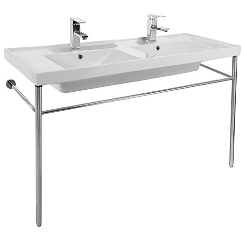 Double Basin Console Ceramic Sink and Polished Chrome Stand
