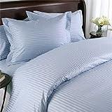 Egyptian Bedding 1000-Thread-Count Egyptian Cotton 1000TC Duvet Set and 2 Shams, King, Blue Damask Stripe 1000 TC