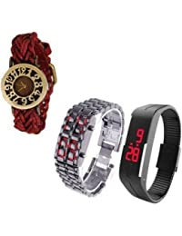 COSMIC COMBO WATCH- MAROON DESIGNER STRAP WATCH FOR WOMEN WITH MAGNET BLACK BAND AND SILVER METAL RED LED DIGITAL...