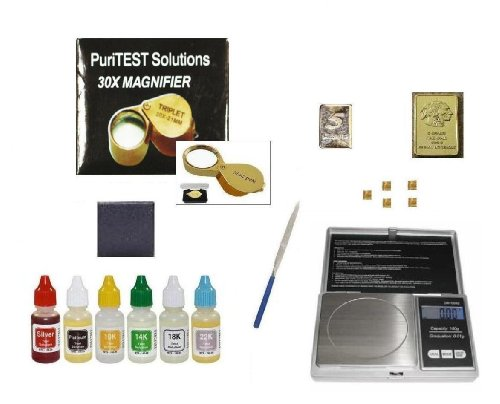 Puritest Ultimate Gold Karat Testing Kit 10Kt 14Kt 18Kt 22Kt 24Kt- Plus Coin Scale, Magnifying Glass, And Free Samples For Testing Reference front-400063