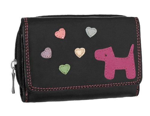 EyeCatchBags - Multi Heart and Dog Faux Leather Ladies Purse Black Fushia
