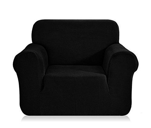 Chunyi Jacquard Sofa Covers 1-Piece Polyester Spandex Fabric Slipcovers (Chair, Black)