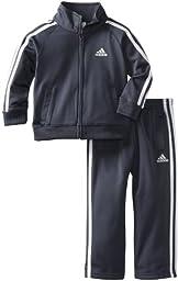 adidas Toddler Boys\' Iconic Tricot Jacket and Pant Set, Grey/White, 3T