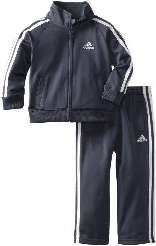 Adidas Toddler Boys' Iconic Tricot Jacket and Pant Set, Grey/White, 2T