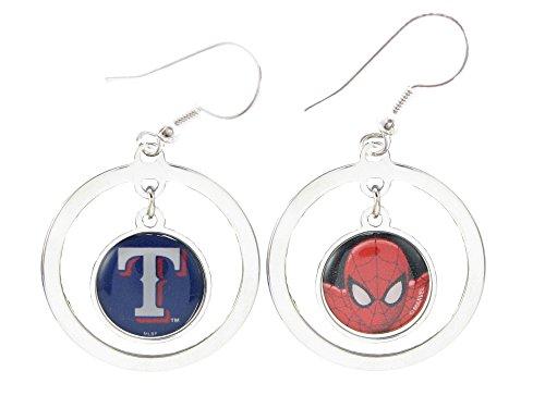 Texas Rangers Spiderman Two Sided Silver Hook Hoop Earrings Jewelry Marvel MLB