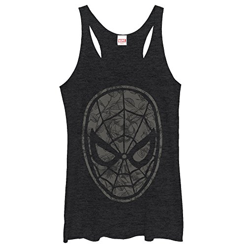 Marvel Spider-Man Grayscale Floral Print Womens Graphic Racerback Tank