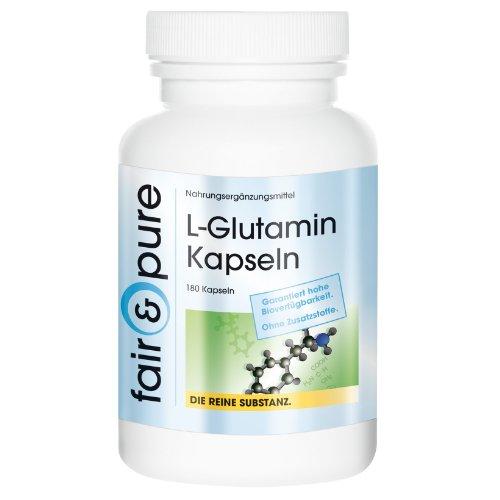 L-Glutamin 700mg, freie Form, bioverfügbar, 180 Kapseln Reinsubstanz frei von Hilfs und Zusatzstoffen, vegetarisch