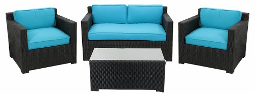 Simple  Piece Black Resin Wicker Outdoor Patio Furniture Set Blue Cushions