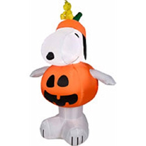 Peanuts Halloween Airblown Inflatable 3 1/2' Snoopy Pumpkin W/ Led Lights By Gemmy