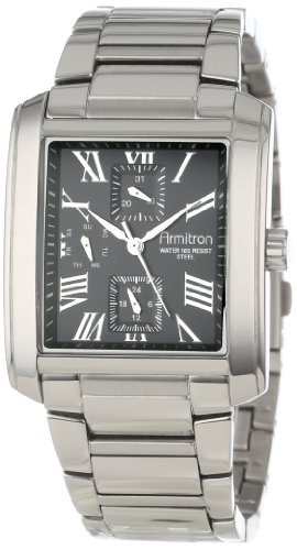 armitron-herren-20-4870bksv-black-dial-square-silver-tone-multi-function-bracelet-armbanduhr