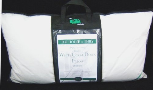 Pair of PREMIUM 100% White Hungarian Goose Down Super King Size Bolster Pillows - Made in Hungary