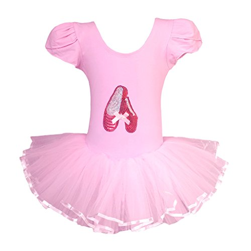 Dancina Little Girls' Classic Leotard Tutu Dress Short Sleeve Ballet