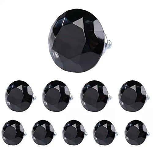 DECOOL (TM) 40mm 10PCS Schwarz Kristallglas Diamond Shape Möbelknauf Möbelknopf Türknopf Schublade Ziehen Griff Möbelgriffe Set Tür der , Schrank , Kleiderschrank Door Knob bestellen