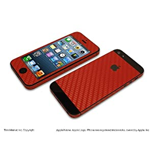 for apple iphone 5 model a1428 a1429 ferrari red carbon fiber protective skin body wrap 8 pieces. Black Bedroom Furniture Sets. Home Design Ideas