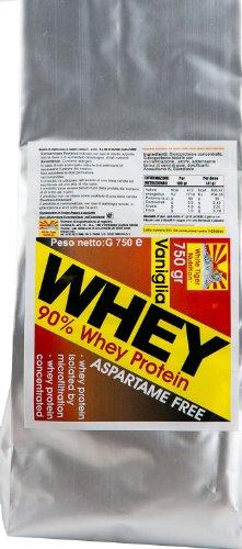 90 Whey Proteine gr 3000 gusto Vaniglia Siero Proteine Isolate senza aspartame