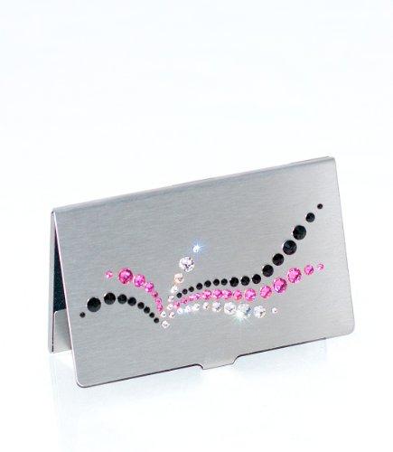mikaela - Custodia per biglietti da visita, con cristalli Swarovski, colore argento, nero e rosa