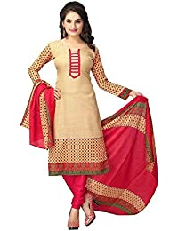 Jashvi Creation Women's Cotton Printed Unstitched Regular Wear Dress Material (JC_DM_539_Beige)