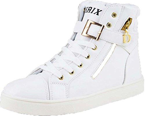 Jiye Men's PU Leather Metal Buckle Zipper Fashion Sneakers,White,8 M US
