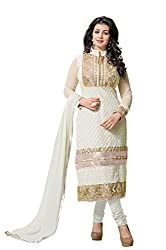 Fashionup Women's Georgette Ethnic Dress Material ( White )