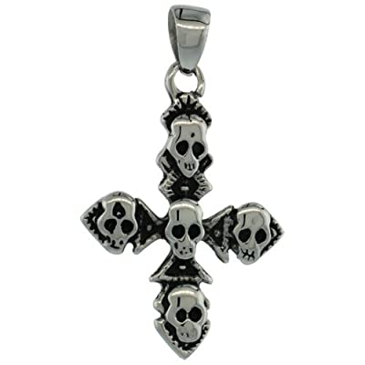 Surgical Steel Multiple Skulls on Cross Necklace 1 3/8 inch, comes w/ 30 inch Chain
