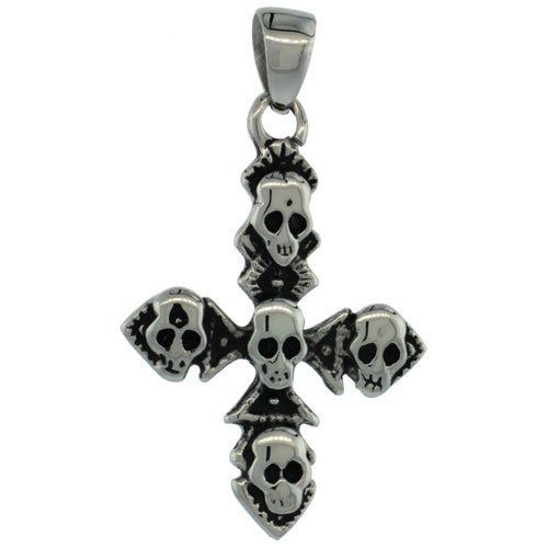 Surgical Steel Multiple Skulls on Cross Pendant 1 3/8 inch (36 mm) tall, comes w/ 30 inch Chain
