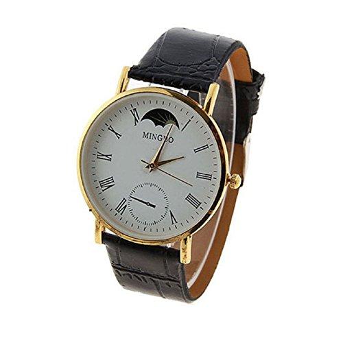 Aokdis (Tm) Hot Selling Fashion Large Dial Gentle Men Man Leather Band Watch Quartz Wrist Watches