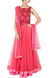 SK Clothing Pink Color Gerogette & Net Embroidered Semi_Stiched Dress For Women