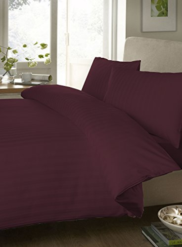 Bedding Spa 800 Thread Count Egyptian Cotton Fitted Sheet With Duvet Set Stripe ( Twin , Wine ) By Bedding Spa front-630630