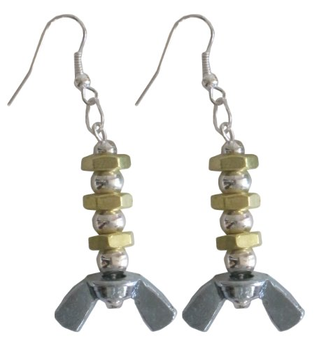 Recycled Hardware Earrings, Nuts, Bolts and Beads (Gold)