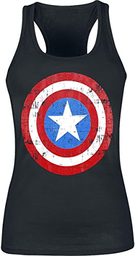 Captain America Shield Logo Top donna nero XL