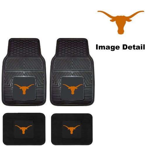 UT University of Texas Longhorns Front & Rear Car Truck SUV Vinyl Car Floor Mats - 4PC (Texas Longhorns Truck Accessories compare prices)